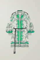 Alice Olivia - Oralia Belted Paisley-print Cotton And Silk-blend Mini Dress - Green