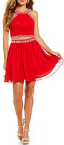 B. Darlin High Neck Beaded Trim Two-Piece Dress