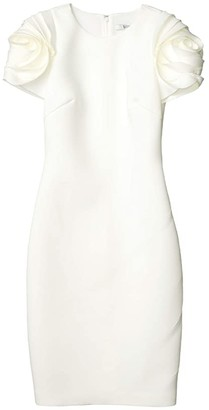 Badgley Mischka Scuba Cocktail Dress with Floral Shoulder Detail (Light Ivory) Women's Clothing