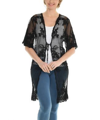 Shoreline Women's Dusters BLACK - Black Floral Lace Duster - Women & Plus