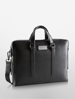 Calvin Klein Saffiano Leather Double Compartment Commuter Bag