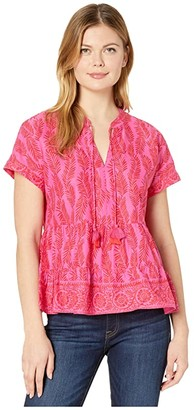 Vineyard Vines Painted Palm Tiered Top (Raspberry/Rose) Women's Clothing