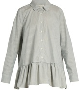 The Great Striped ruffle cotton-poplin shirt