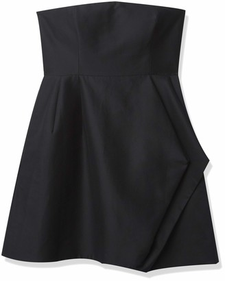 Halston Women's Strapless Silk Faille Dress with Folded Drape Skirt