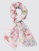 M&S Collection Pretty Floral Print Scarf