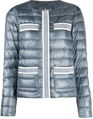 Herno Stripe-Trim Collarless Padded Jacket