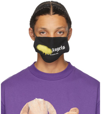 Palm Angels Black and Yellow Spray Logo Mask