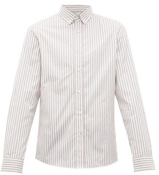 Brunello Cucinelli Striped Cotton Poplin Shirt - Mens - Grey