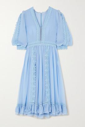 Costarellos Lace-trimmed Chiffon Midi Dress - Blue