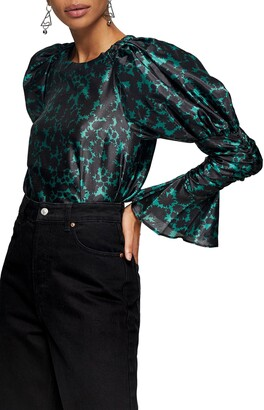 Topshop Drama Floral Print Long Sleeve Satin Blouse