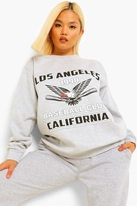 boohoo Petite 'Los Angeles' Oversized Sweat
