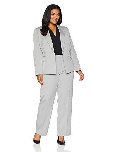 Le Suit Women's 1 Button Peak Lapel Herringbone Pant Suit