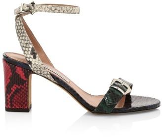 Tabitha Simmons Rosetta Python-Embossed Leather Sandals