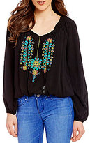 Jessica Simpson Elizabella V-Neck Tie-Detail Long-Sleeve Embroidered Peasant Top