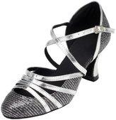 Minitoo Women's TH131 Closed Toe Cross Strap Glitter Wedding Ballroom Latin Taogo Dance Pumps Shoes