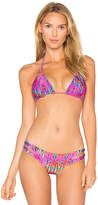 Luli Fama X REVOLVE Reversible Zig Zag Triangle Top in Pink. - size M (also in S,XS)