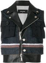 DSQUARED2 Street SKA sleeveless jacket - women - Cotton/Calf Leather/Polyester/Spandex/Elastane - 38