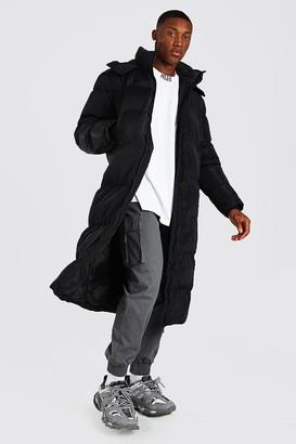 boohoo Mens Black Longline Duvet Puffer With Zips, Black