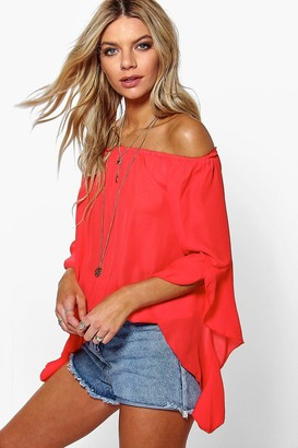 boohoo Fluted Frill Sleeve Off The Shoulder Top