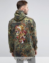 Reclaimed Vintage Military Parka Jacket With Tiger Back Patch