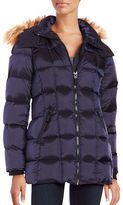 Andrew Marc Faux Fur Trimmed Metallic Puffer Down Coat
