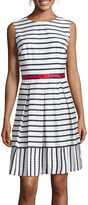 Liz Claiborne Sleeveless Belted Striped Fit-and-Flare Dress