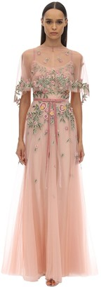 Marchesa LONG EMBROIDERED TULLE DRESS W/ CAPE