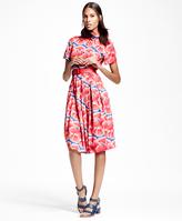 Brooks Brothers Petite Floral-Print Cotton Sateen Shirt Dress