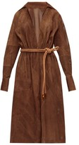 Fendi Belted Perforated-suede Dress - Womens - Brown