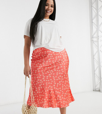 Glamorous Curve midi skirt in ditsy floral