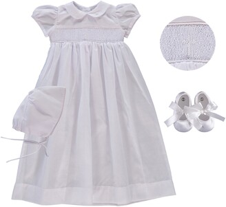 Carriage Boutique Smocked Inset Christening Gown, Bonnet & Booties Set
