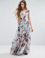 Religion Frill Maxi Dress In Floral Print