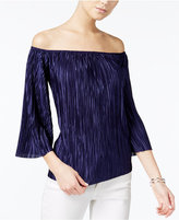 Bar III Pleated Off-The-Shoulder Top, Only at Macy's