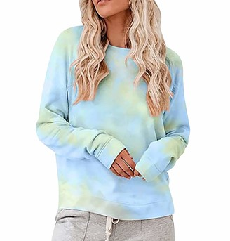 Peuignao Tie Dye Sweatshirt For Women Crewneck Rainbow Sweatshirt Women Ladies Round Neck Sweatshirts Womens Oversized Sweatshirt Long Sleeve Pullover Jumper Women Loose Sweat Tops Womens Jumpers Green Blue XL