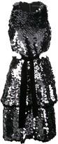 Proenza Schouler Metallic Sequin Sleeveless Cut Out Velvet Bow Dress