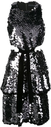 Proenza Schouler Metallic Sequin Sleeveless Cut Out Velvet Bow Dress