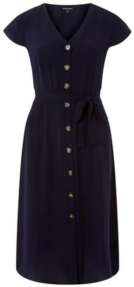Dorothy Perkins Womens Navy Horn Effect Button Midi Shirt Dress