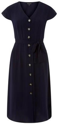 Dorothy Perkins Womens Navy Horn Effect Button Midi Shirt Dress