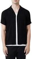 Topman Revere Collar Short Sleeve Shirt