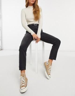 Stradivarius high waist straight leg jeans in black