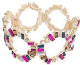Kensie Faceted Glass Cluster O Ring Stretch Bracelet