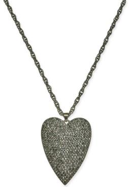 "Thalia Sodi Hematite-Tone Pave Heart 18"" Pendant Necklace, Created for Macy's"