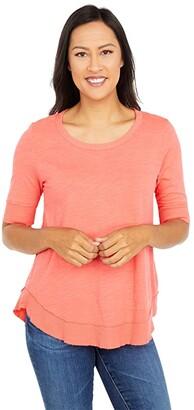 Mod-o-doc Slub Jersey Elbow Sleeve Curved Hem Tee (Sunset) Women's Clothing