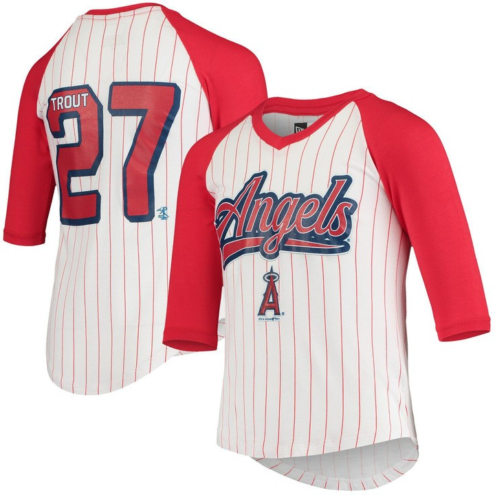 New Era Mike Trout Los Angeles Angels 5th & Ocean by Girls Youth Player Pinstripe Raglan 3/4-Sleeve T-Shirt - White/Red
