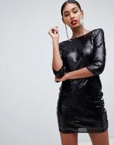 TFNC sequin mini bodycon dress with lace scallop back in black