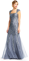 Adrianna Papell AP1E200206 Bedazzled Queen Anne Sheath Dress