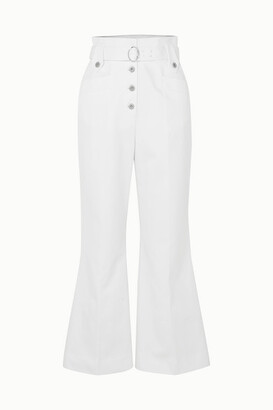 Miu Miu Belted Cotton-twill Flared Pants - White