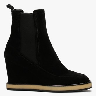 Daniel Naro Black Suede Wedge Chelsea Boots