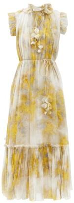 Zimmermann Botanica Abstract-print Chiffon Dress - Yellow Print