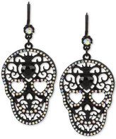 Betsey Johnson Black-Tone Filigree Skull and Crystal Drop Earrings